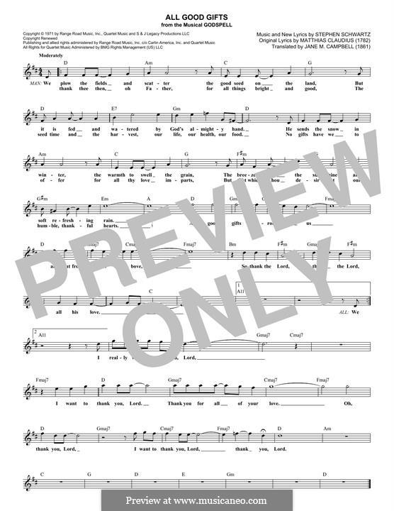 All Good Gifts (from Godspell): Melodische Linie by Stephen Schwartz