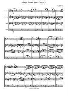 Konzert für Klarinett und Orchester in A-Dur, K.622: Adagio, for string quartet by Wolfgang Amadeus Mozart