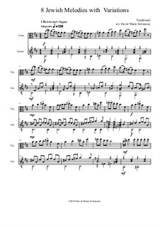 Eight Jewish Melodies: Complete set, with variations for viola and guitar by folklore