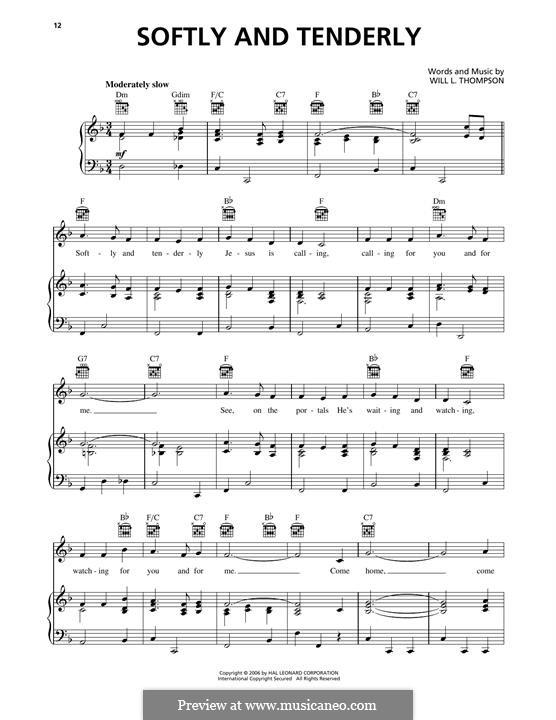 Softly and Tenderly: Für Stimme und Klavier (oder Gitarre) by Will Lamartine Thompson