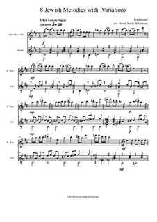 Eight Jewish Melodies: Complete set, with variations for alto recorder and guitar by folklore