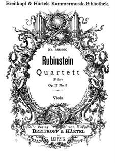 Quartett für Streicher Nr.3 in F-Dur, Op.17 No.3: Violastimme by Anton Rubinstein