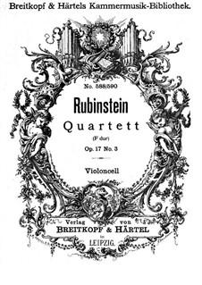 Quartett für Streicher Nr.3 in F-Dur, Op.17 No.3: Cellostimme by Anton Rubinstein