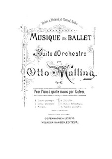 Ballettmusik, Op.42: Nr.3 Menuett, für Klavier, vierhändig by Otto Malling
