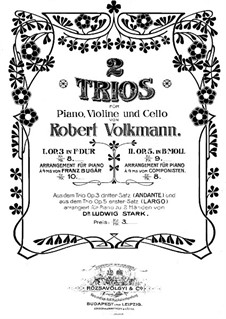 Klaviertrio Nr.2 in b-Moll, Op.5: Vollpartitur by Robert Volkmann