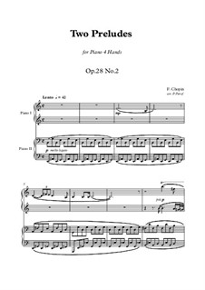 Fragments: 2 preludes, for piano four hands by Frédéric Chopin