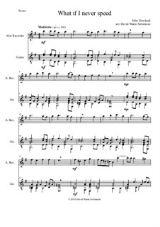 What if I never speed: For alto recorder and guitar by John Dowland