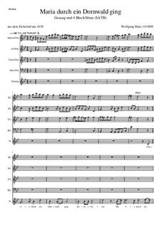 Maria durch ein Dornwald ging: Für Stimme und vier Blockflöten by Unknown (works before 1850)