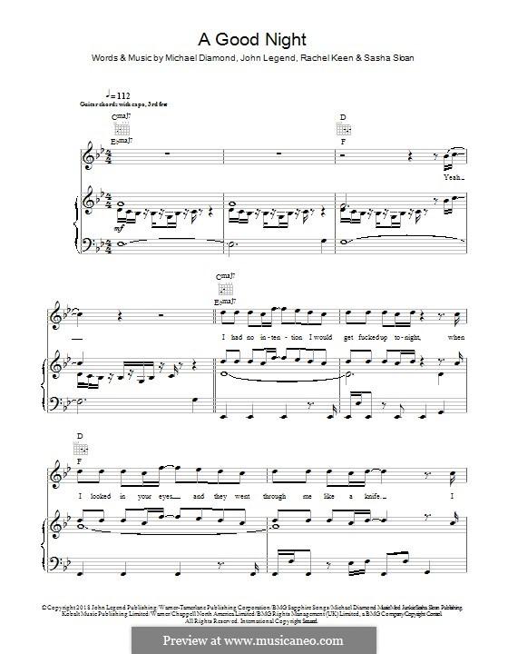A Good Night (John Legen feat. BloodPop): Für Stimme und Klavier (oder Gitarre) by John Stephens, Michael Diamond, Rachel Keen, Sasha Sloan