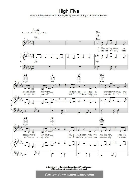 High Five (Sigrid): Für Stimme und Klavier (oder Gitarre) by Martin Sjolie, Emily Warren, Sigrid Raabe