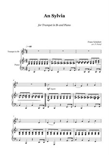 An Sylvia, D.891 Op.106 No.4: For trumpet and piano by Franz Schubert