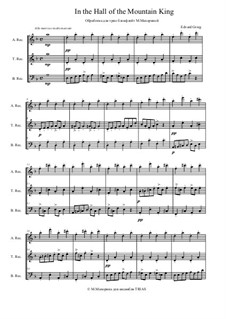 Suite Nr.1. In der Halle des Bergkönigs, Op.46 No.4: For trio recorder by Edvard Grieg