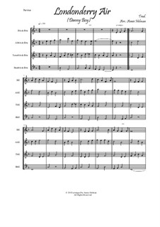 Danny Boy (Londonderry Air): For quartet recorder by folklore