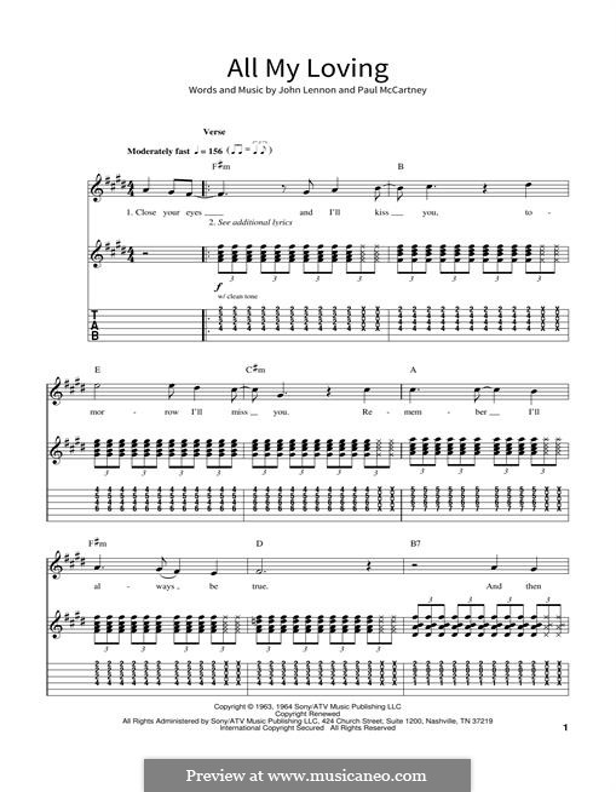 All My Loving (The Beatles): Für Gitarre mit Tabulatur by John Lennon, Paul McCartney
