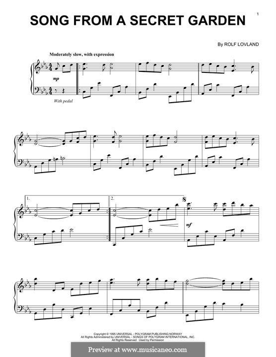 Song from a Secret Garden: Für Klavier by Rolf Løvland
