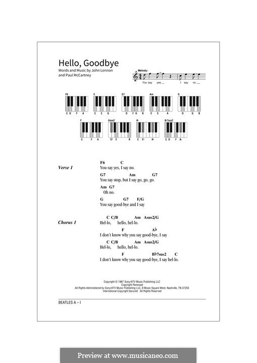 Hello, Goodbye (The Beatles): Text und Akkorde by John Lennon, Paul McCartney