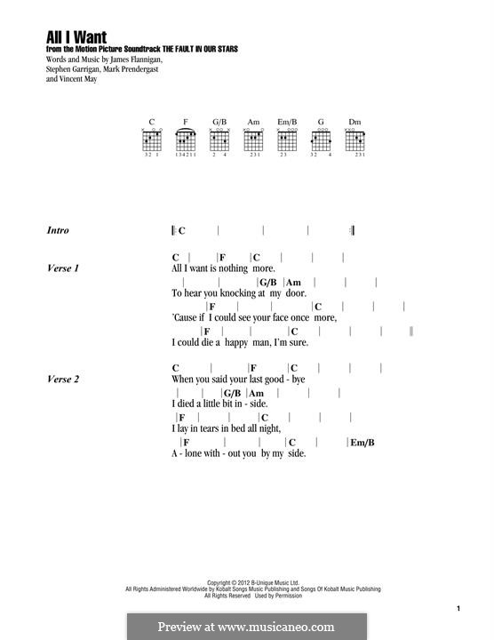 All I Want (Kodaline): Text und Akkorde by Mark Prendergast, Stephen Garrigan, Vincent May, James Flannigan