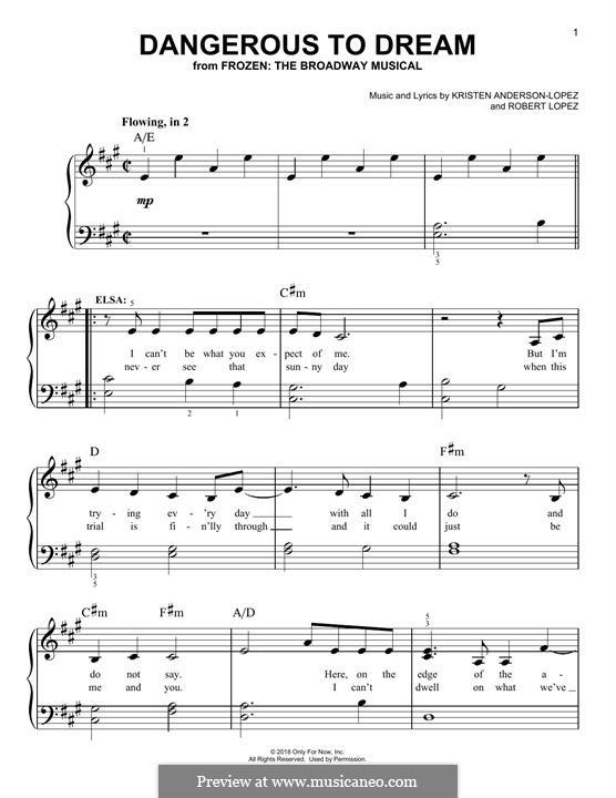 Dangerous to Dream (from Frozen: The Broadway Musical): Für Klavier by Robert Lopez, Kristen Anderson-Lopez