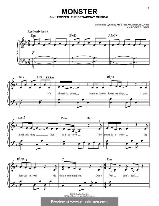Monster (from Frozen: The Broadway Musical): Für Klavier by Robert Lopez, Kristen Anderson-Lopez