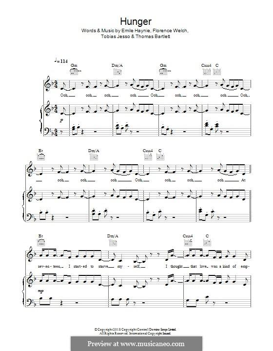 Hunger (Florence + The Machine): Für Stimme und Klavier (oder Gitarre) by Emile Haynie, Florence Welch, Tobias Jesso, Thomas Bartlett