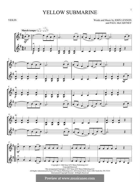 Yellow Submarine (The Beatles): Für zwei Violinen by John Lennon, Paul McCartney