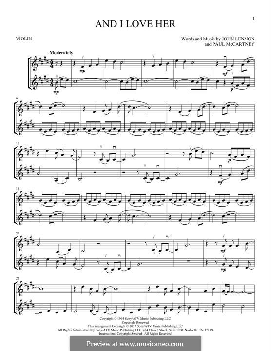 And I Love Her (The Beatles): Für zwei Violinen by John Lennon, Paul McCartney