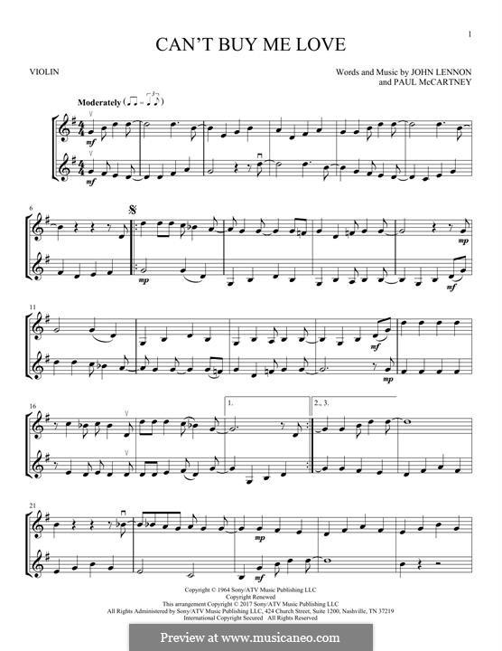 Can't Buy Me Love (The Beatles): Für zwei Violinen by John Lennon, Paul McCartney