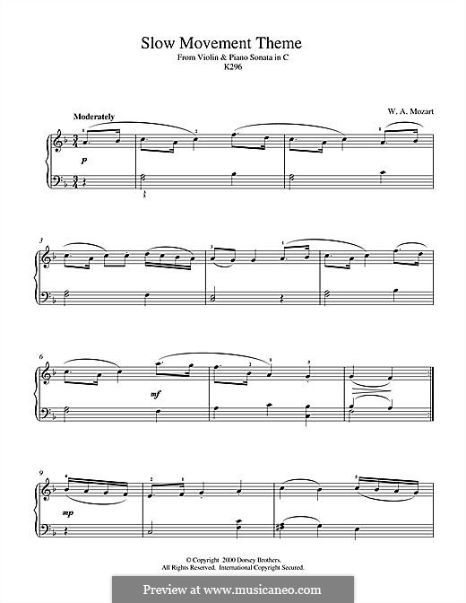Sonate für Violine und Klavier Nr.17 in C-Dur, K.296: Slow Movement Theme, for piano by Wolfgang Amadeus Mozart