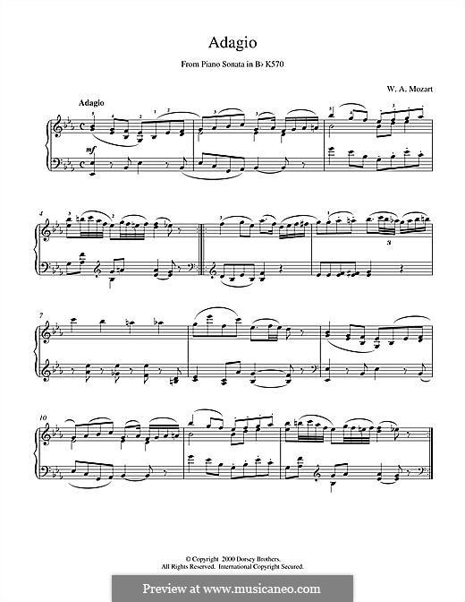 Sonate für Klavier Nr.17 in B-Dur, K.570: Adagio by Wolfgang Amadeus Mozart