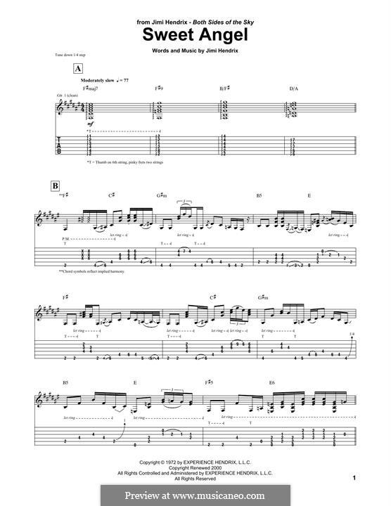 Angel: Für Gitarre mit Tabulatur by Jimi Hendrix