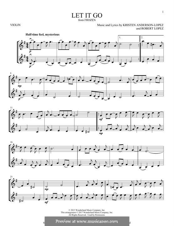 Let It Go (from Frozen): Für zwei Violinen by Robert Lopez, Kristen Anderson-Lopez