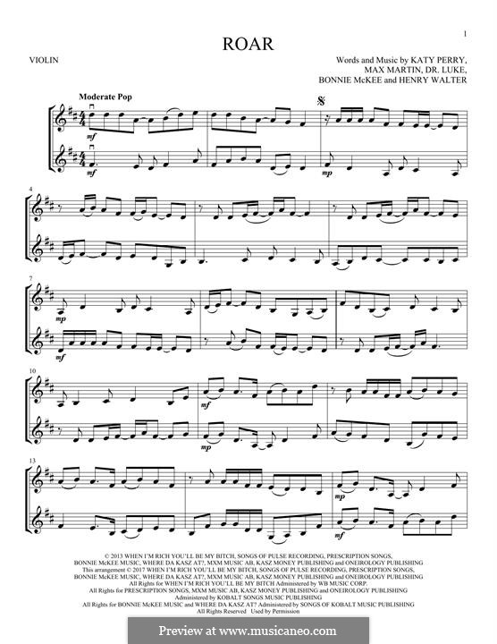 Roar: Für zwei Violinen by Bonnie McKee, Katy Perry, Lukas Gottwald, Max Martin, Henry Russell Walter