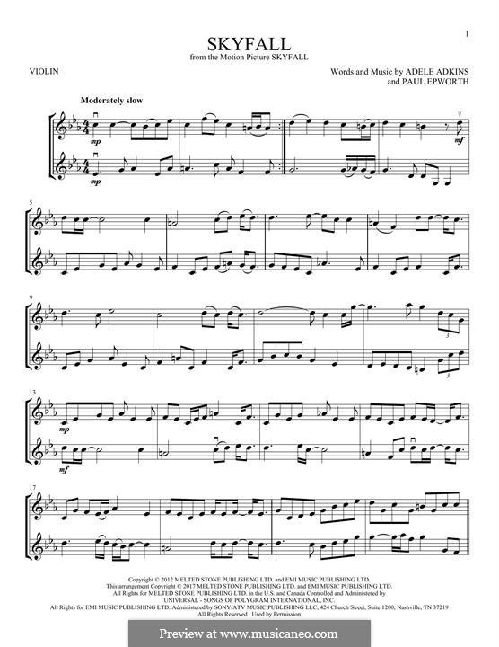 Instrumental version: Für zwei Violinen by Adele, Paul Epworth