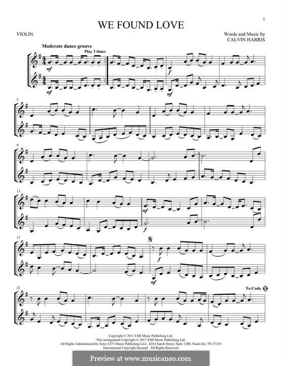 We Found Love: Für zwei Violinen by Calvin Harris