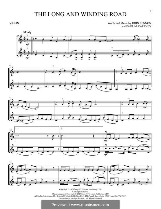 The Long and Winding Road (The Beatles): Für zwei Violinen by John Lennon, Paul McCartney