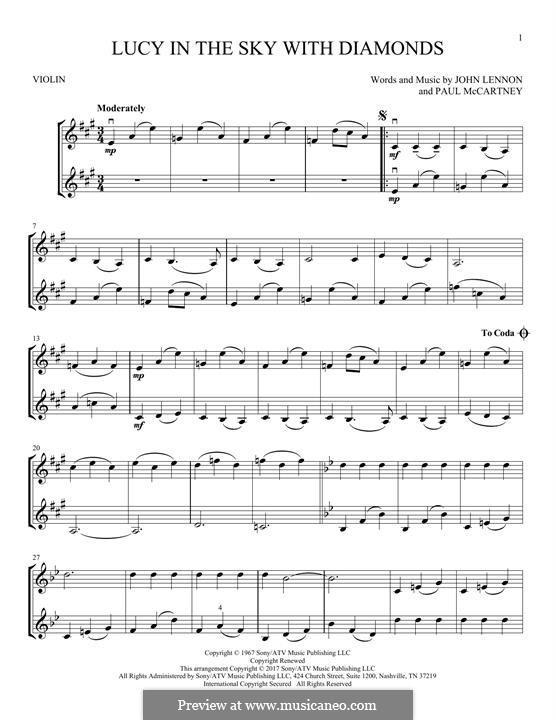 Lucy in the Sky with Diamonds (The Beatles): Für zwei Violinen by John Lennon, Paul McCartney