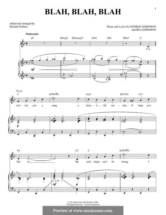 Blah, Blah, Blah: Für Stimme und Klavier by George Gershwin