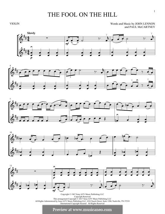 The Fool on the Hill (The Beatles): Für zwei Violinen by John Lennon, Paul McCartney