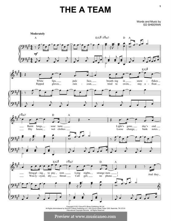 The a Team: Für Stimme und Klavier by Ed Sheeran