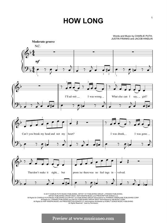 How Long: Für Klavier by Jacob Kasher Hindlin, Justin Franks, Charlie Puth