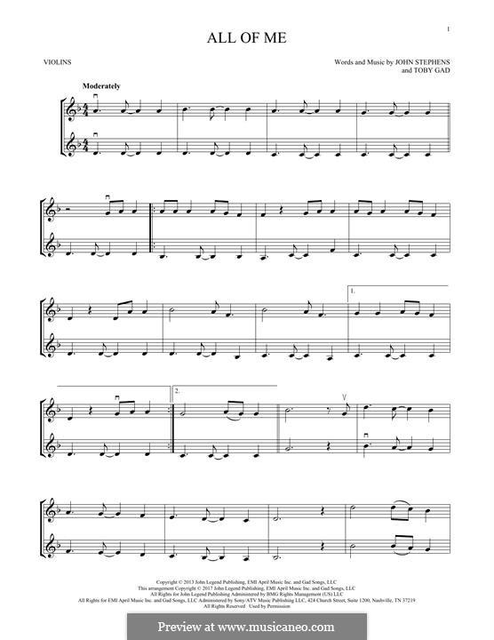 All of Me: Für zwei Violinen by John Stephens, Tobias Gad