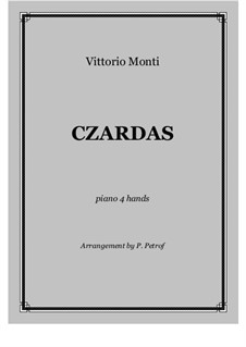Csardas: For piano four hands - score and parts by Vittorio Monti