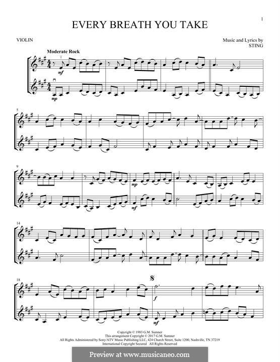 Every Breath You Take (The Police): Für zwei Violinen by Sting
