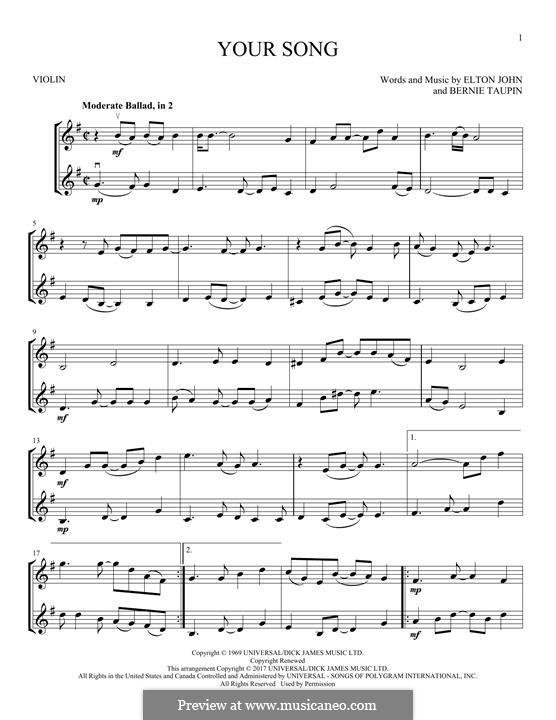 Your Song: Für zwei Violinen by Elton John