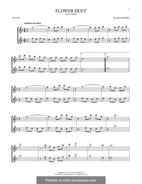 The Flower Duet: Für zwei Flöten by Léo Delibes