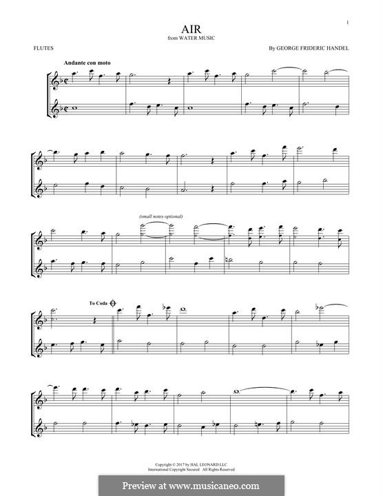 Suite Nr.1 in F-Dur, HWV 348: Aria, for two flutes by Georg Friedrich Händel