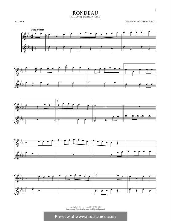 Fanfare Rondeau: Theme, for two flutes by Jean-Joseph Mouret
