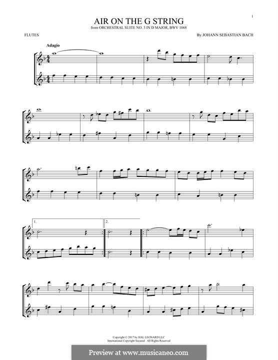 Aria (Printable Scores): Version for two flutes by Johann Sebastian Bach