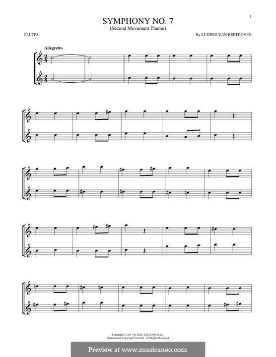 Teil II: Theme. Version for two flutes by Ludwig van Beethoven