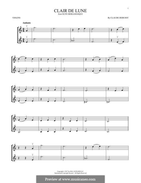 No.3 Clair de lune: Für zwei Violinen by Claude Debussy